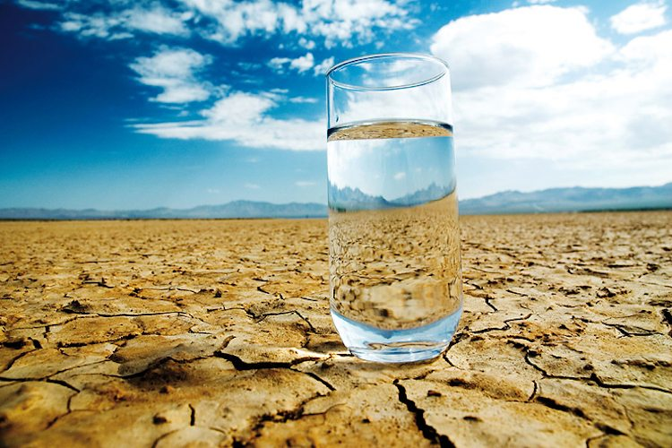 water on dehydrated ground