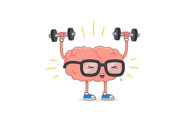 Brain training vector illustration. Cartoon brain with glasses lifting weights, isolated on white background